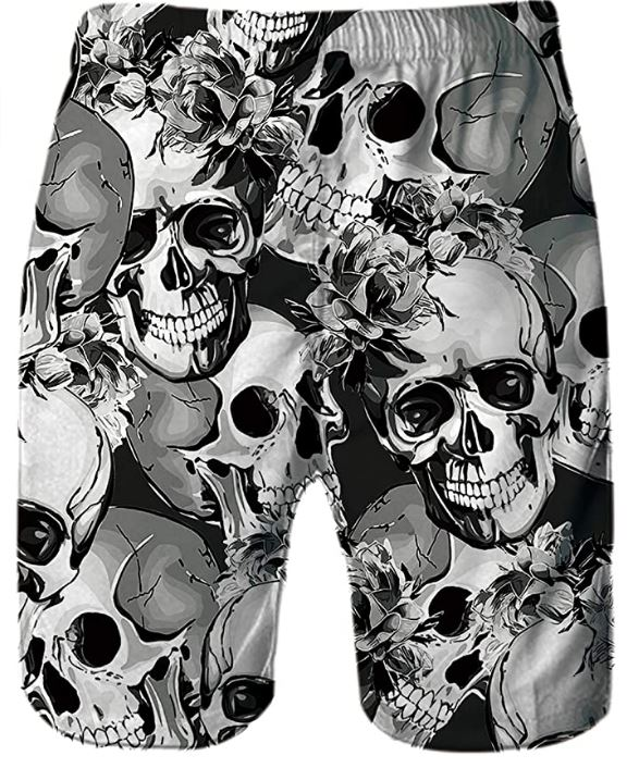 Polyester Wonderful Roses Pattern Board Shorts with Pockets Mens 3D Printed Beach Shorts